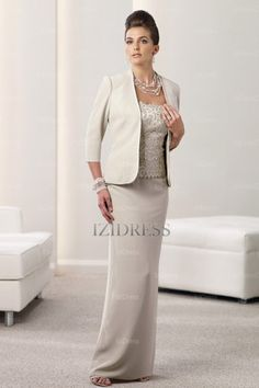 Sheath/Column Strapless Floor-length Elastic Woven Satin Mother of the Bride - IZIDRESSBUY.com at IZIDRESS.com