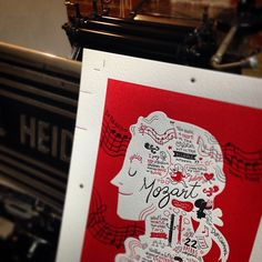 Mozart-letter printed illustration by visualscribing