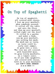 """Silly Songs: Lyrics for """"On Top of Spaghetti"""" with a Learn Along Video grandparents day printables, deadbeat grandparents quotes, grandparents day books Kindergarten Songs, Preschool Music, Preschool Learning, Preschool Ideas, Transition Songs For Preschool, Free Preschool, Songs For Toddlers, Silly Songs For Kids, Songs For Preschoolers"""