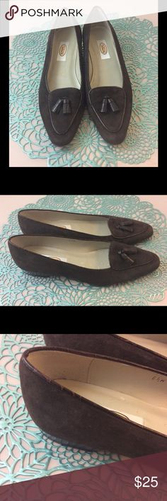 Talbots Suede Flats EUC Leather upper. Man made balance. Made in Spain. Wear on right shoe as shown in photo 3. Still in excellent condition. Talbots Shoes Flats & Loafers