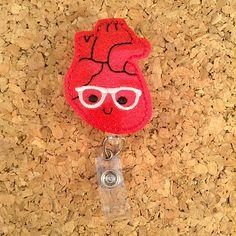 Geeky Badge Reel | Glitter Vinyl Heart Nerd ID Cardiac Badge Reel - Lanyard - Retractable Name Holder - Nurse / Medical Workers | 937