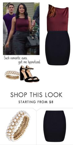"""""""Veronica Lodge night out outfit - Riverdale"""" by shadyannon ❤ liked on Polyvore featuring Anne Klein, Boohoo, Pour La Victoire and Love Quotes Scarves"""