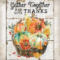 Thanksgiving Pumpkin Basket Give Thanks Sign DIY Thanksgiving | Etsy Thanksgiving Signs, Thanksgiving Wreaths, Thanksgiving Decorations, Digital Prints, Digital Collage, Wood Background, Diy Signs, Give Thanks, Retro Christmas Tree