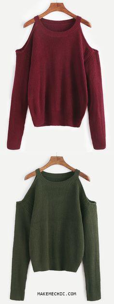 Burgundy Open Shoulder Knit Sweater
