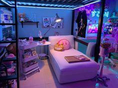 Cute Bedroom Decor, Room Design Bedroom, Room Ideas Bedroom, Small Room Design, Game Room Design, Gamer Bedroom, Otaku Room, Gaming Room Setup, Dream House Interior