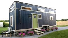 Blue Tiny House, two lofts, great storage.