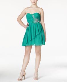 B Darlin Juniors' Beaded Strapless Dress