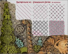 2 New Patterns in the Steampunk Series–Background No.1 & No. 2 #zentangle   lifeimitatesdoodles