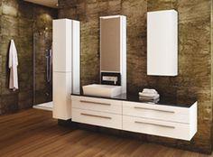 Modern white vanity by Vanico Maronyx / SoHo Collection Modern Master Bathroom, Contemporary Bathrooms, Soho, Linen Cabinets, Single Sink Vanity, White Vanity, Bathroom Renos, Bathroom Ideas, Plumbing Fixtures