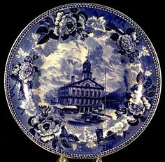 Faneuil Hall Boston Mass Souvenir Plate Wedgwood Flow Blue 1895 Liberty England #Wedgwood #Plate
