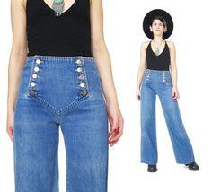 70s Chemin De Fer Jeans Vintage Sailor Bell Bottoms Jeans Womens Sailor Pants Medium Wash High Waist Wide Leg Jeans Saddle Back Jeans (S)