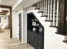 32 Nice Understairs Storage Design Ideas - When home owners think about updating their stairs and hallway, they tend to focus only on tasks such as replacing the stair balustrade, handrails, sp. Basement Remodel Diy, Basement Makeover, Basement Storage, Basement Stairs, Basement Bedrooms, Stair Storage, Basement Renovations, Home Remodeling, Basement Ideas