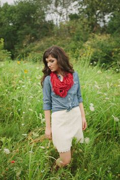 Red Infinity Ruffle Scarf by Mary Henry #infinityscarf #fallfashion #fieldphotography #chambray #lace