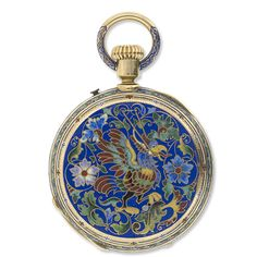 Museum Quality, Late 19th Century Victorian 18k Gold And Enameled Champleve, Hunter Case Pocket Watch