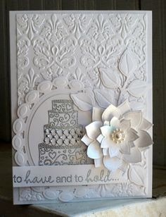 I adore making wedding cards. I also find that I like to do monochromatic wedding cards - especially white and cream. If I'm the one giving ...
