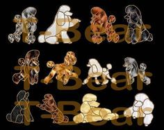 Beautiful stained glass of poodles in a variety of clips, styles and performance.