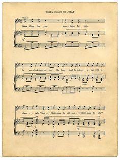free printable music sheets   Vintage Printable - Christmas Sheet Music - Santa - The Graphics Fairy