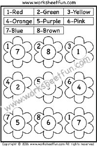 Color by Number – One Worksheet