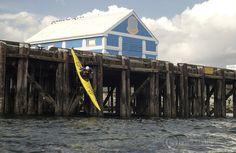 Kayaker dropping off pier, Sidney, BC | Josh McCulloch