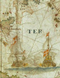 Great Battle scene.. Bibliothèque nationale de France. François Ollive, Carte particulière de la Mer Méditerranée (detail). Marseilles, 1662.