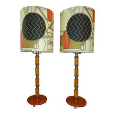 Vintage Pair of Art Deco Bakelite Lamps With Designer Fabric Shades - a Pair Vintage Lamps, Fabric Shades, Fabric Design, Art Deco, Table Lamp, Home Decor, Products, Lamp Table, Decoration Home