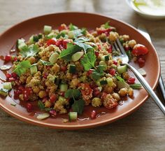 This low carb chickpea salad is taken from The 8-week Blood Sugar Diet Recipe Book. It's an ideal low-cal salad if trying to manage your blood sugars.