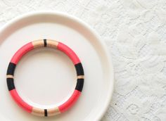 Hot Pink. Biege. Black. Layered Thread Bangle Bracelet with Stripes - no. 513A