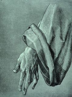 Albrecht Durer 'Study of the left hand of an apostle' for The Heller Altar (circa 1508). This exquisite drawing is achieved with white as well as black hatching that is layered on a grayish paper.