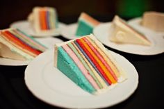 White cake cut into 10 layers and colored with food coloring! May be a bit fussy to make, but this was for an actual wedding!   1fdc7d65 05fc 558b b9d1 945d26f32380~rs 729