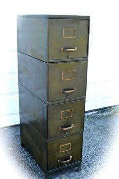 Vintage Industrial Metal Filing Cabinet. $195.00, via Etsy.