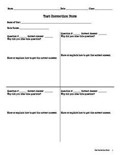 Test And Assessment Corrections Forms  Versions  Math School