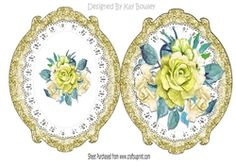 pretty gold painted roses on lace ornate frame on Craftsuprint - View Now!