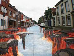 hell street - crazy street art by Edgar Mueller in the German town of Geldern