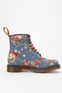 What's not to love? So girly with a punk rock vibe<3- Dr. Martens Denim Floral Boot