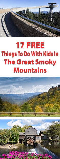 An article showing 17 things to do in The Great Smoky Mountains in Tennessee with kids. All of these activities are lots of fun and completely FREE. Great Smoky Mountains, Mountains In Tennessee, Smokey Mountain, Smoky Mtns, Appalachian Mountains, Mountains In Usa, Smoky Mountain National Park, Vacation Destinations, Vacation Trips