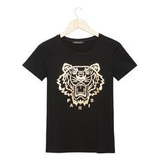 2016 Fashion brand t shirt women gold tiger printed t-shirt summer short sleeve casual fitness rock punk tees woman tops
