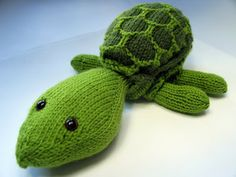 Sheldon turtle stuffed animal with removable shell. 12 Free Knitting Patters for Babies @ GrowingSlower.