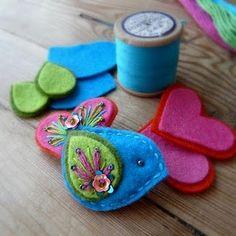 Felt embroidered bird