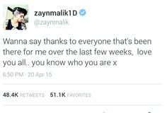 Zayn tweeted this thanking the real fans and didn't change his name or bio