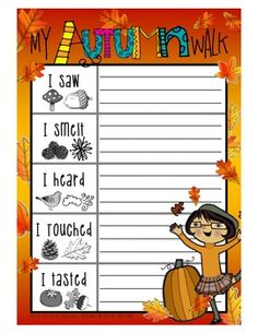 Autumn / Fall Nature Walk FREEBIE. I  just like this because the graphics are so cute.