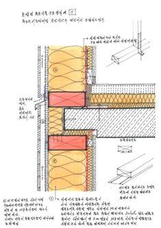 콘센트의 기밀시공에서 많은 시행착오가 있는듯 하다. 설비층이 따로 약 40mm이상이 형성이 되어 있으면 다... Word Building, Timber House, Architecture Details, Construction, It Works, Frame, Interior, Blog, Drawing
