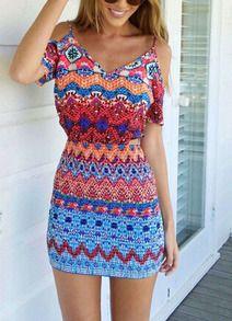schulterfreies Kleid mit Folklore Print