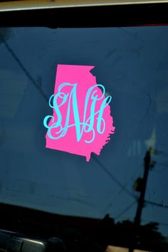 Monogrammed car decal with state outline! Perfect for college and you can get them in different colors!  Via Etsy