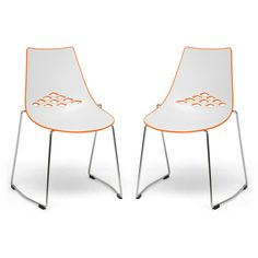 Jupiter White and Orange Plastic Modern Dining Chairs (Set of 2)   Overstock™ Shopping - Great Deals on Baxton Studio Dining Chairs