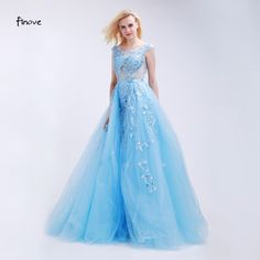 Finove Light Blue Prom Dresses See-Through Tulle with Appliques and Beading 2018 New Sexy Backless Long Party Gowns for Girls
