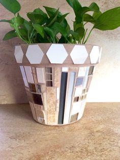 Mosaic planter, large stone flower pot, rustic indoor herb pots ...