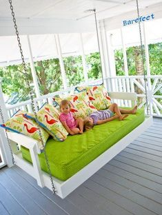 Twin bed turned into a porch swing. Cool!