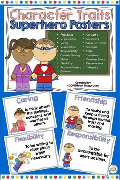 Life Skills and Character Traits with a Super Hero Theme. This is a set of 19  8.5 x 11 classroom posters with a superhero theme to use for teaching of Life SKills and Character Traits.