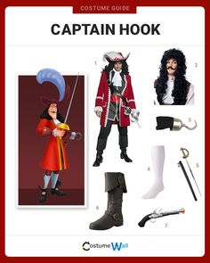 Get the complete pirate look of Captain Hook, the arch-enemy of Peter Pan of NeverLand from the 1953 Disney movie.