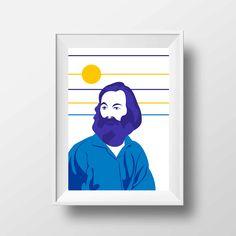 Affiche d'Art Littérature - Poster Illustration Walt Whitman Portrait Style Pop Art Poète Ecrivain Librairie Tirage Art Littéraire